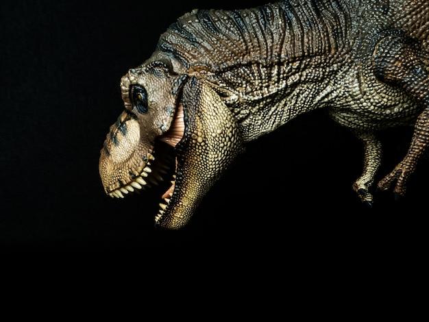 黒い背景にティラノサウルスtレックス恐竜