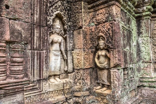 Храм та сом в ангкор-ват в сием рип, камбоджа