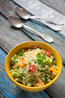 Tabbouleh salad on a rustic table