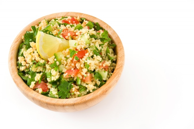Tabbouleh salad with couscous isolated on white, copy space