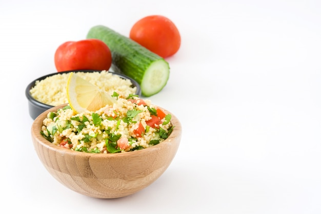 Tabbouleh salad with couscous isolated on white