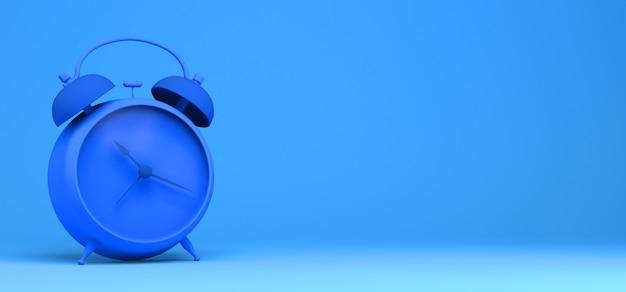 青い背景のテーブル目覚まし時計。 3dイラスト。バナー。概要。