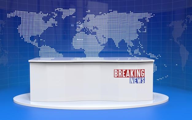 뉴스 스튜디오의 테이블 및 속보 배너 배경
