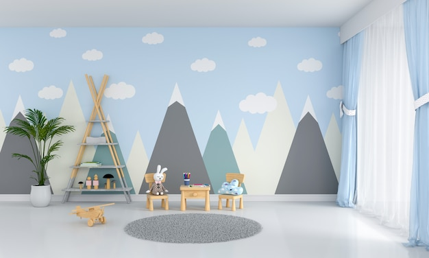 Стол и стул в голубой детской комнате