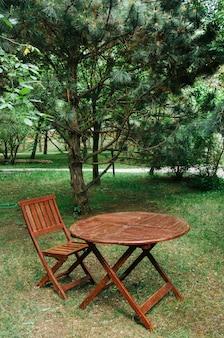 庭の芝生の上に立っているテーブルと椅子