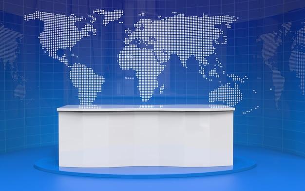 뉴스 스튜디오에서 테이블 및 뉴스 배너 배경