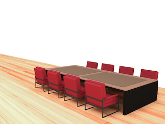 Table and red chair with wood wall