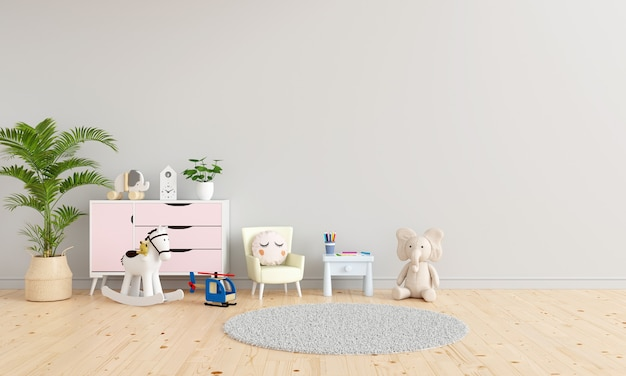 Table and armchair in gray child room interior with free space