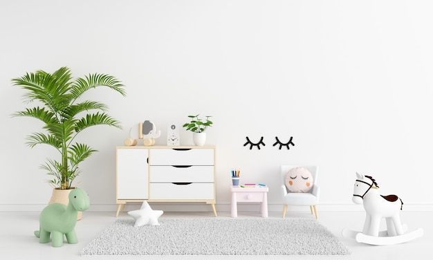 Table and armchair in white child room interior with free space
