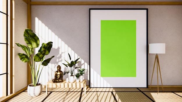 Table cabinet wooden design on living room zen style empty wall. 3d rendering