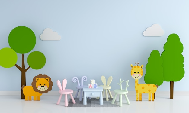 Table and chair in blue child playroom for mockup