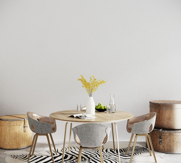 Table and chairs in a living room