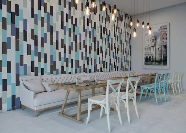 Table and chairs in a restaurant with ceramic wall design