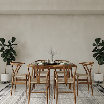 Table and chairs in room with plants