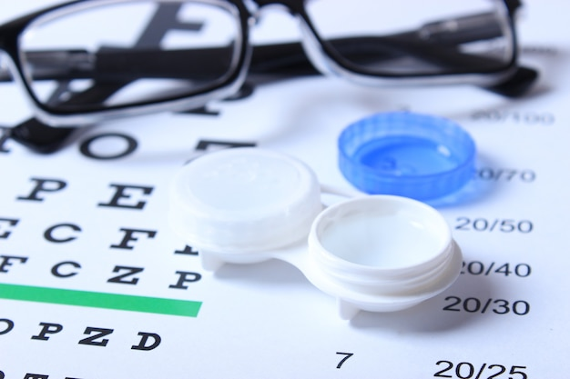 Table for checking vision glasses and lenses for correcting vision