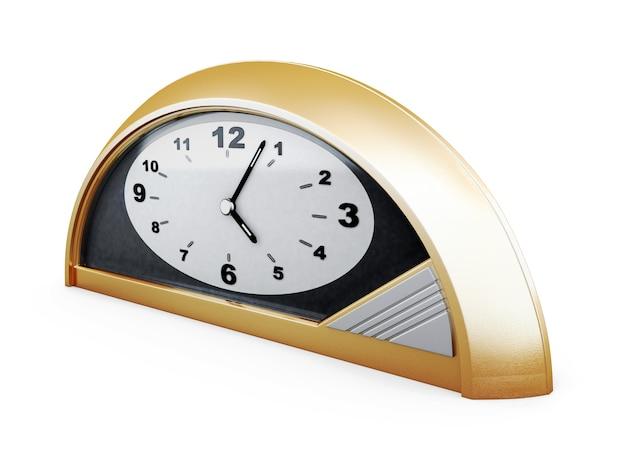 Настольные часы, изолированные на белом фоне. вид сбоку. 3d рендеринг.