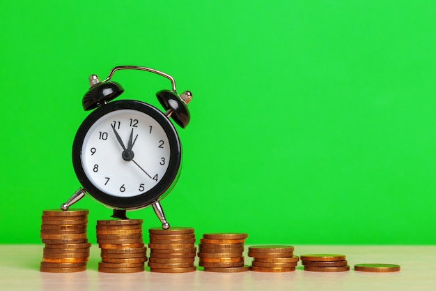 Table clock with coins