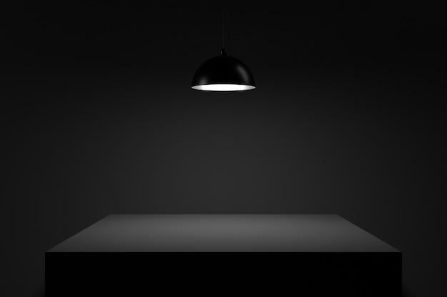 Table in the darkness. 3d rendering. Premium Photo