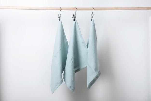 Table decor with  light blue linen napkins, selective focus image