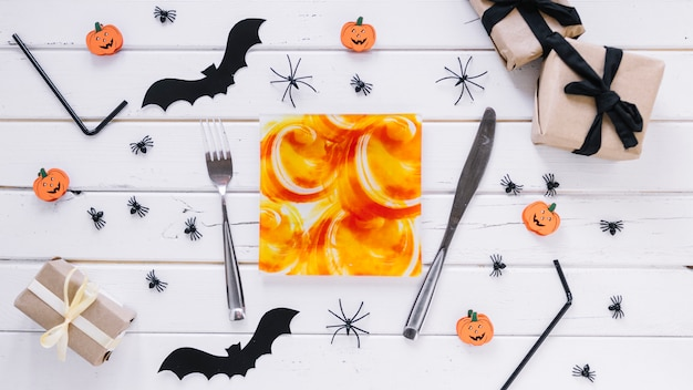Table decorated for halloween