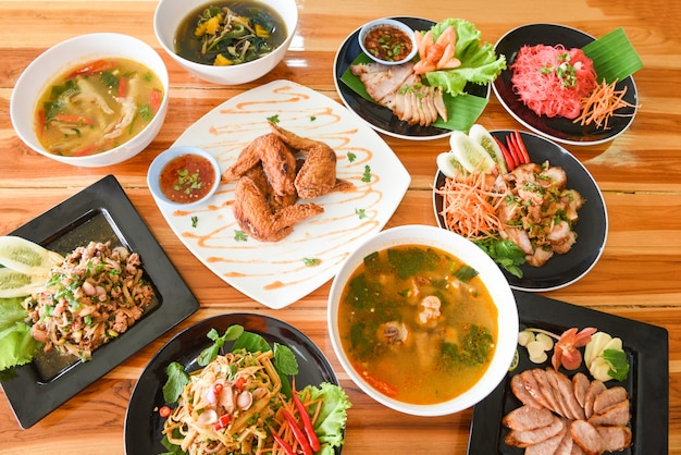 Table food served on plate tradition northeast food isaan delicious vegetables