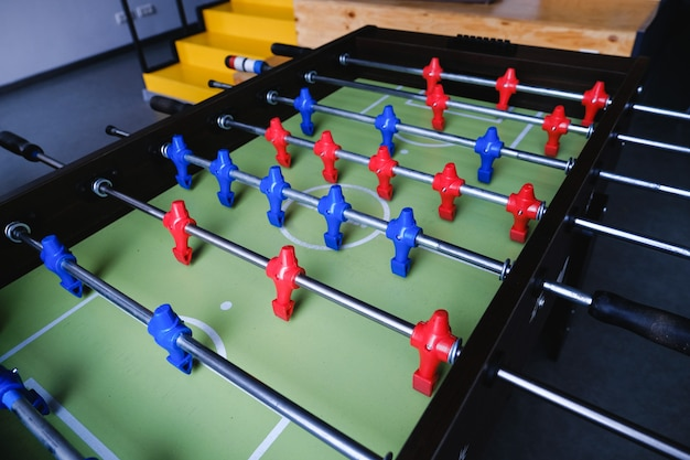 Table football in the entertainment center.