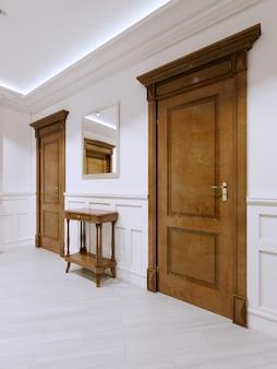 Столик для ключей в современном классическом интерьере коридора. 3d-рендеринг.