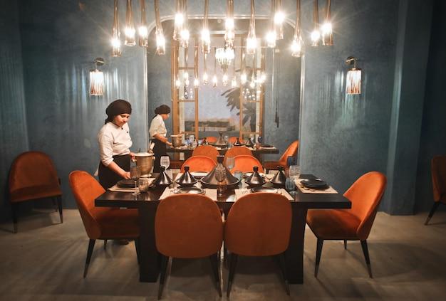Table of lush restaurant