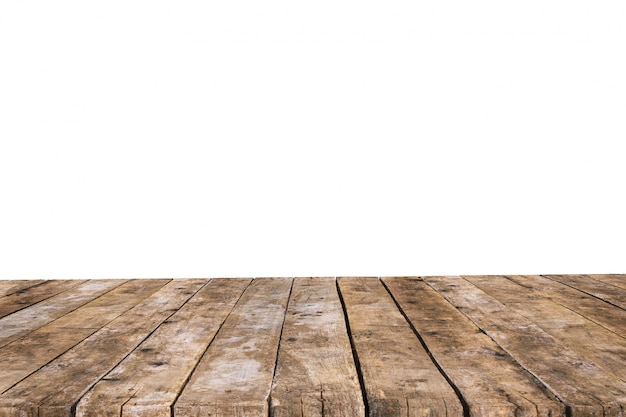 Table made with old planks without background