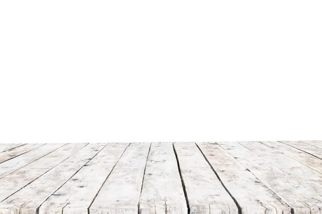 Table made with old white planks without background