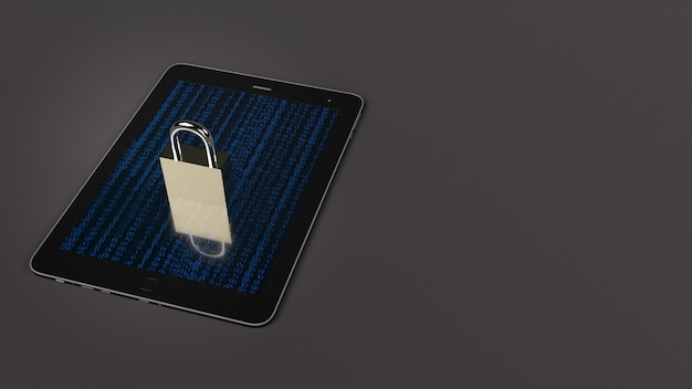 Table and master key 3d rendering for security technology.