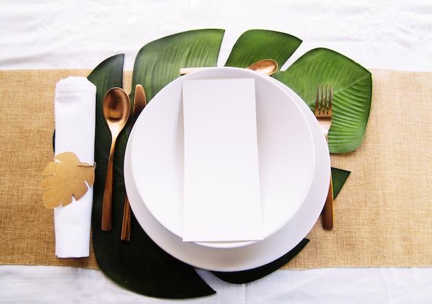 Table menu mockup