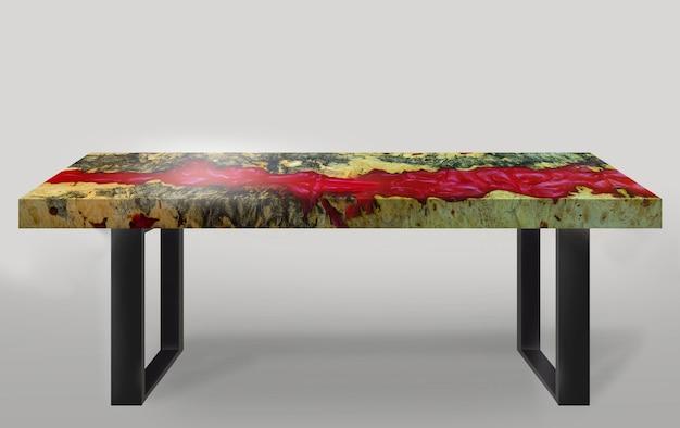 床の白い背景に鋼製のエポキシ樹脂パダウクバール木製脚を鋳造して作られたテーブルモダンなスタイル