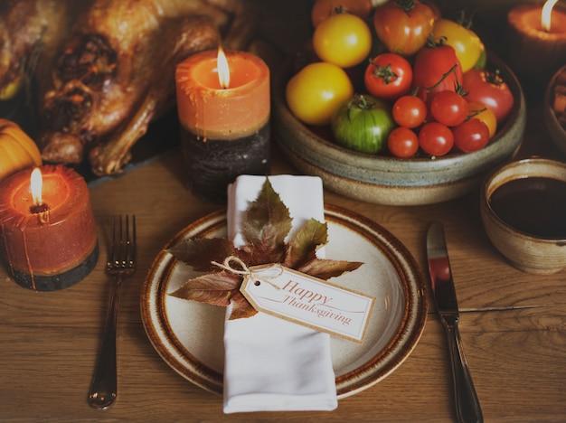 Table napkin turkey thanksgiving celebration table setting concept
