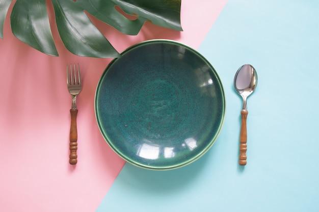 테이블 또는 메뉴를 조롱, 음식 및 레스토랑 개념, 평면 배치