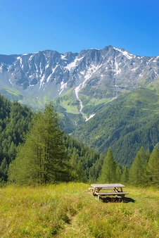 Table of picnic in a meadow and peak mountains