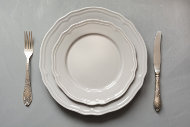 Table place setting on gray. top view. concept.