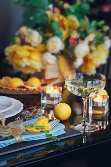 Table place setting with holidays decoration