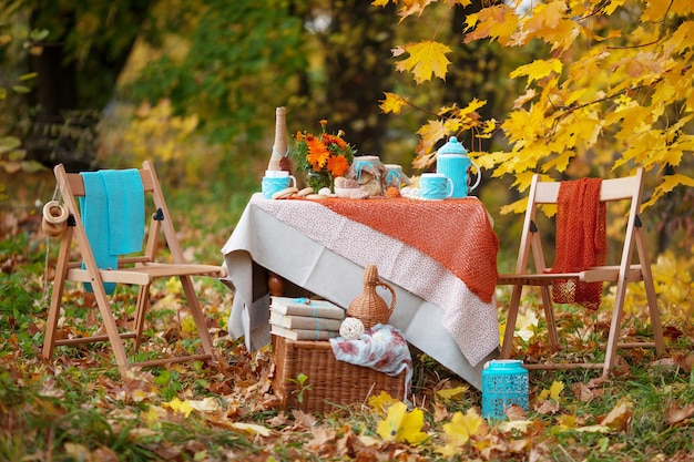 Table prepared for lunch in autumn nature, picnic.