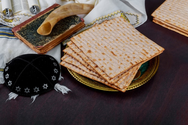 Table ready for traditional seder plate ritual the jewish holiday of passover