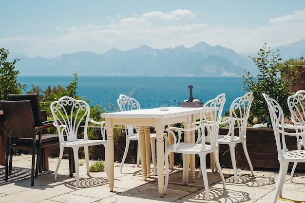 A table in a restaurant or a summer cafe on the sea coast of ntalya turkey