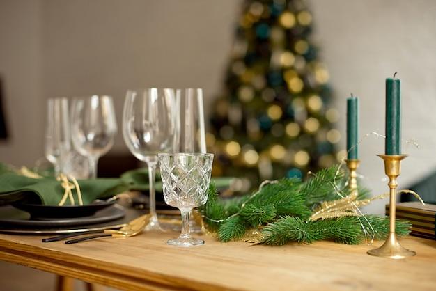 Table served for christmas dinner in living room