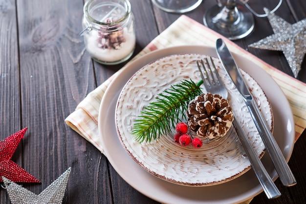 Table served for christmas dinner
