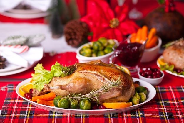 Table served for thanksgiving or christmas dinner.