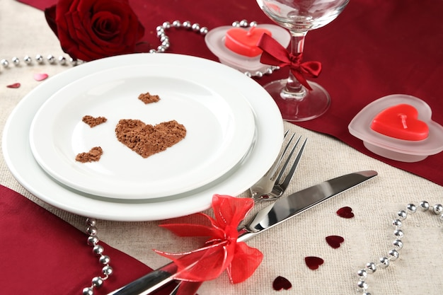Table setting in honor of valentine's day