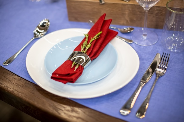 Table setting with a blue tablecloth, a white and blue plate, a red napkin in a steel holder with a branch of rosemary, steel appliances, glass goblets. close up, soft focus