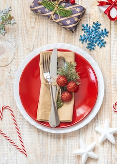 Table setting with christmas decoration