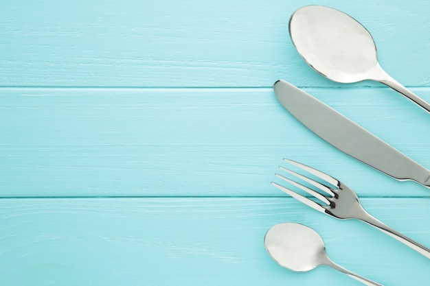 Table setting with cutlery with fork, spoon and knife