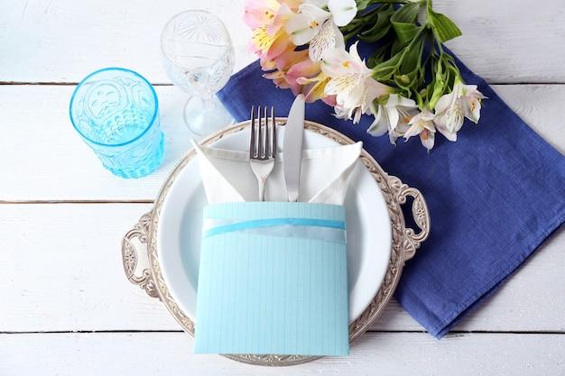 봄 꽃, 근접 테이블 설정
