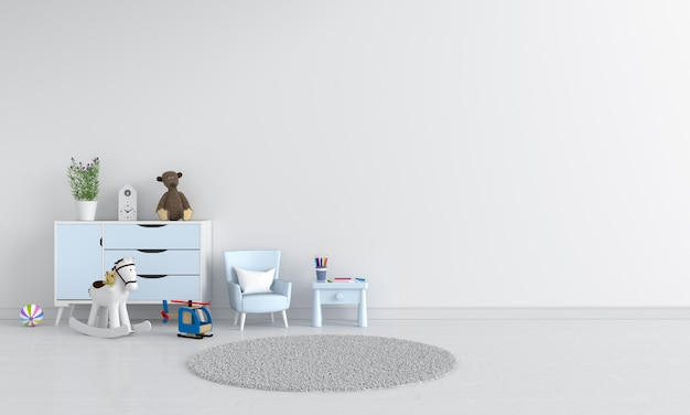 Table and sofa in white child room interior